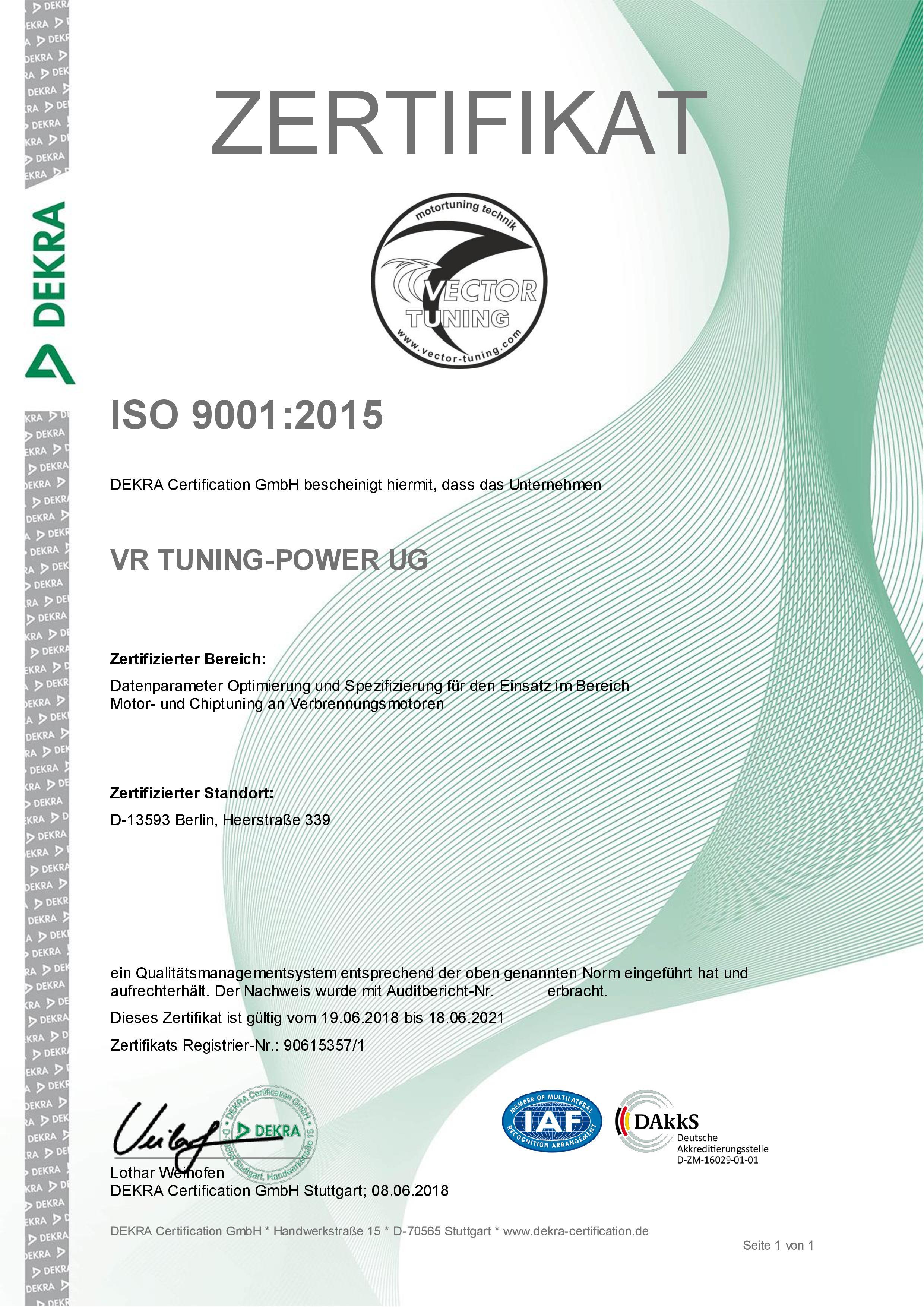 DEKRA Certificate ISO 9001
